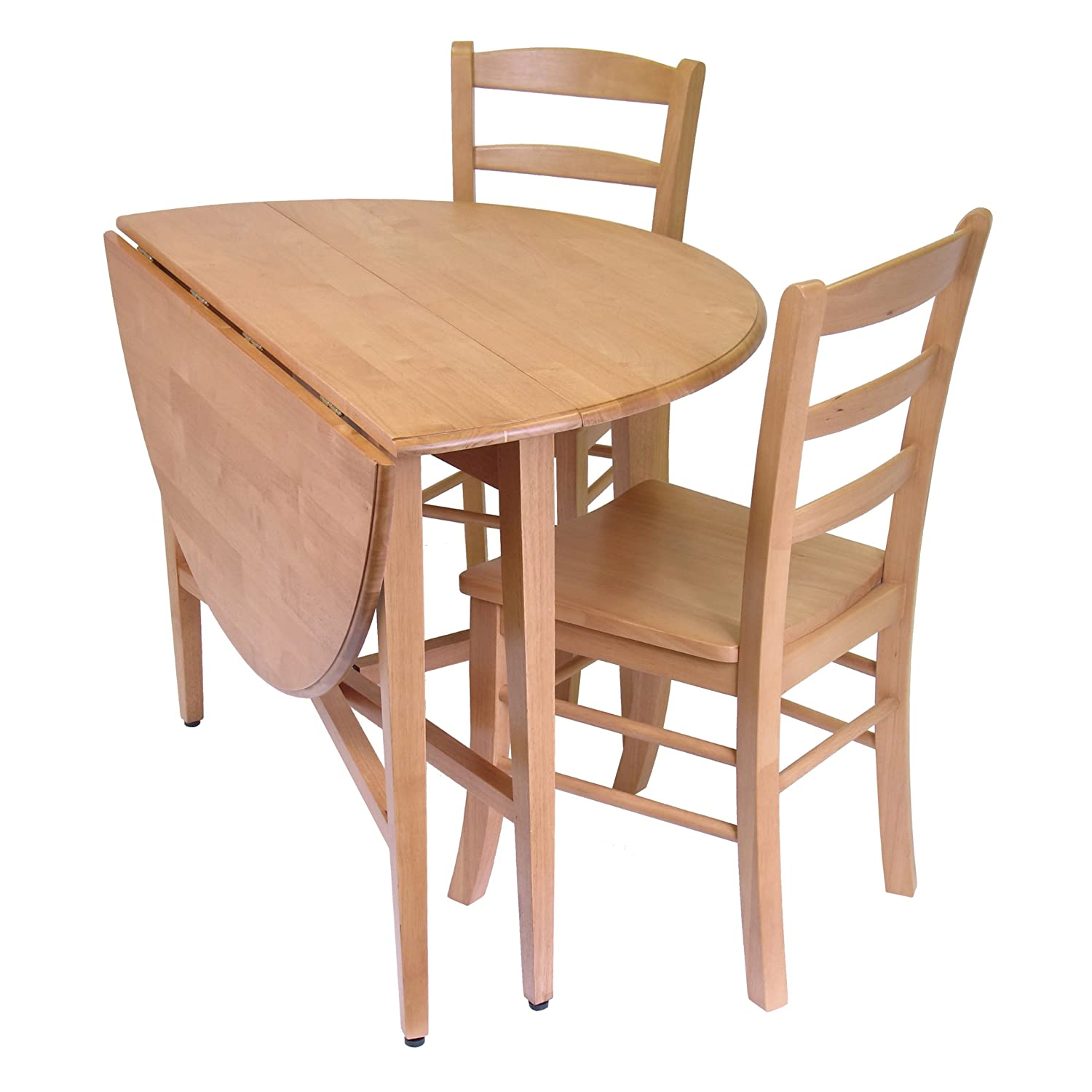 Amazon.com   Winsome Hannah Dining Set, Drop Leaf Table With 2 Ladder Back  Chairs, 3 Piece   Table U0026 Chair Sets