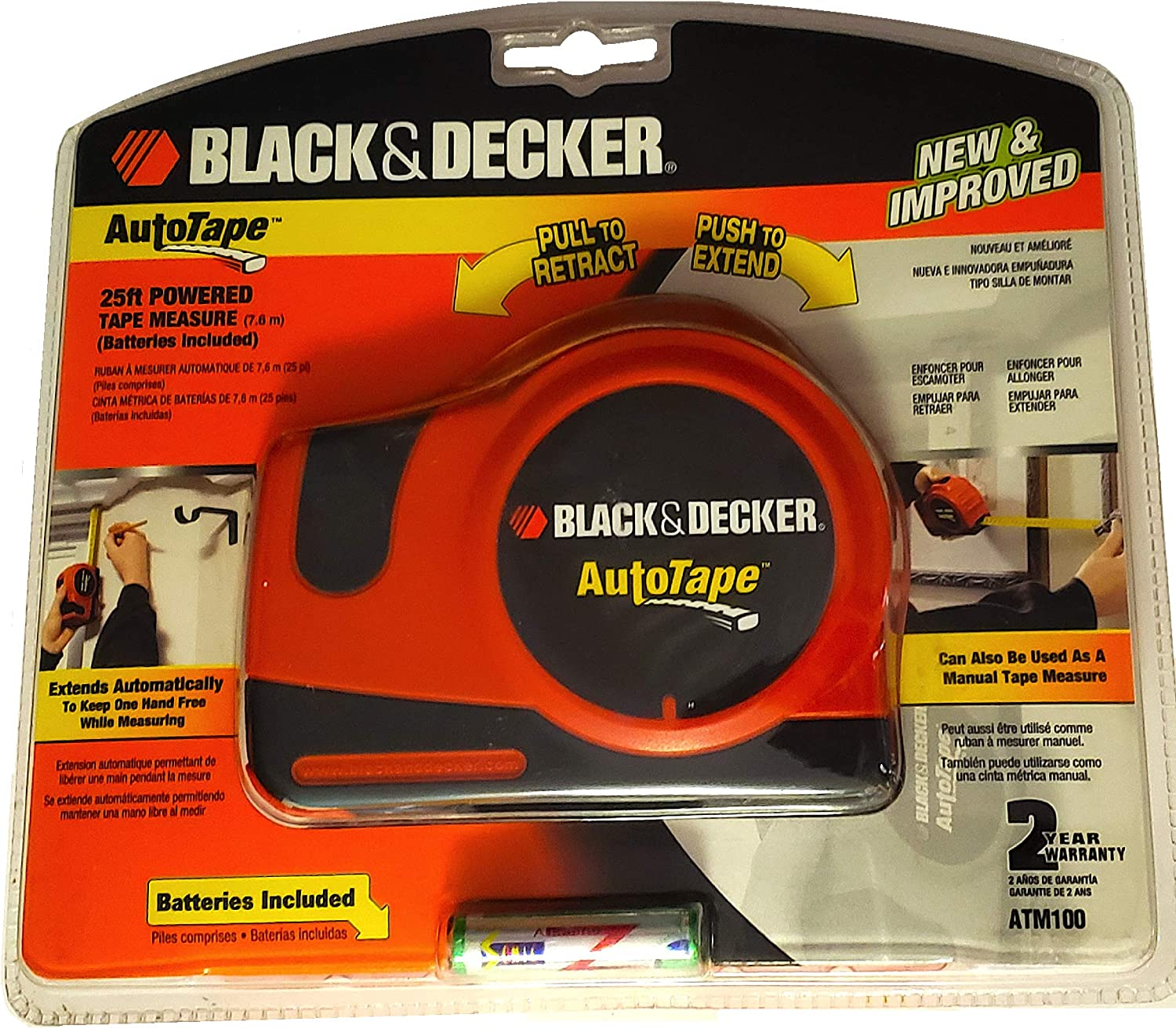 Black and Decker ATM100 New and Improved Autotape Auto Tape Measure Powered Tape Rule