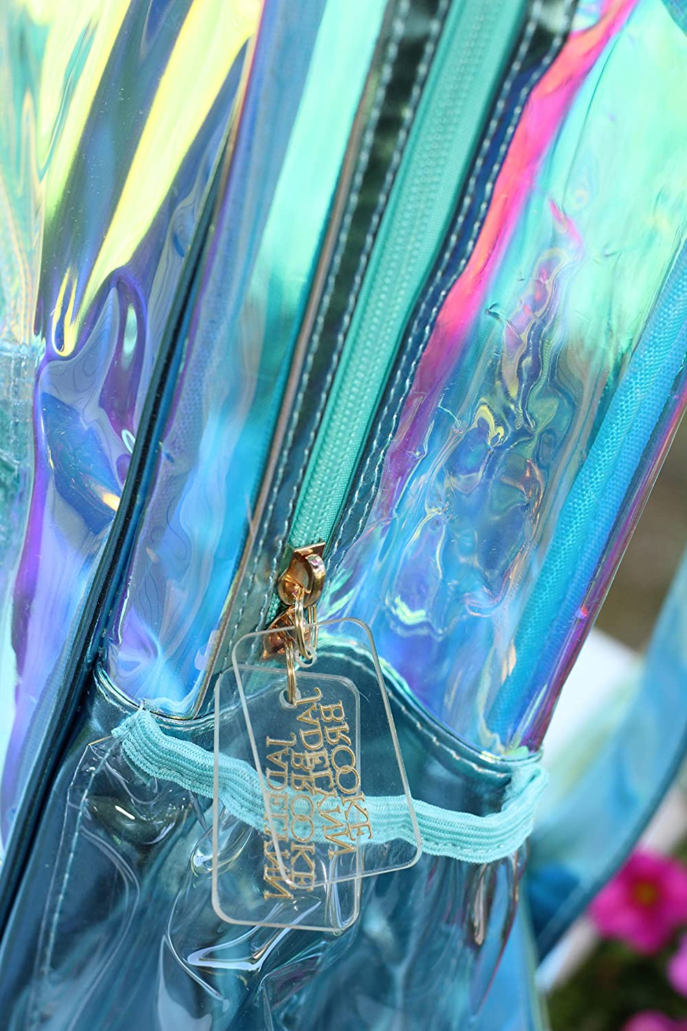 Monogrammed Clear iridescent Book bag Backpack from 3 Happy Hooligans line by Jadelynn Brooke