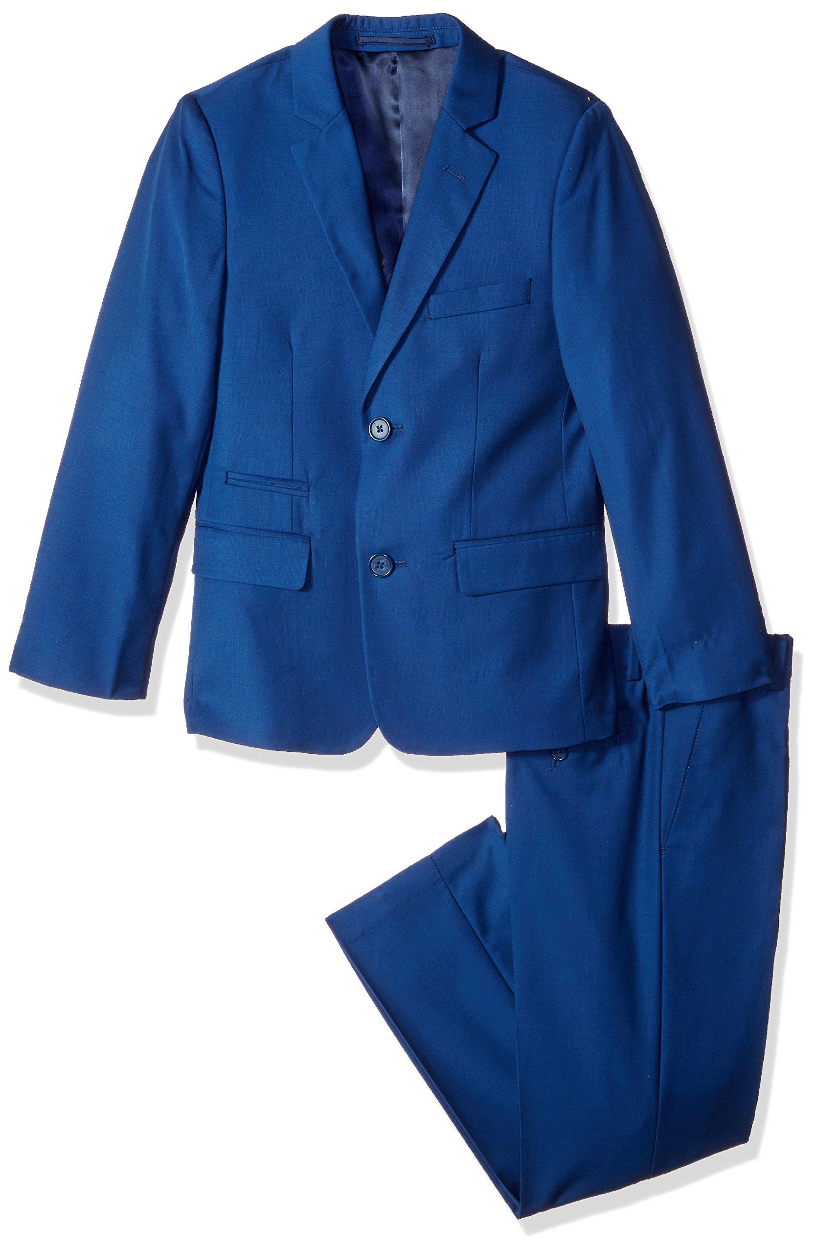 Isaac Mizrahi Big Boys' 2Pc Slim Cut Wool Blend Suit, Cobalt Blue, 10