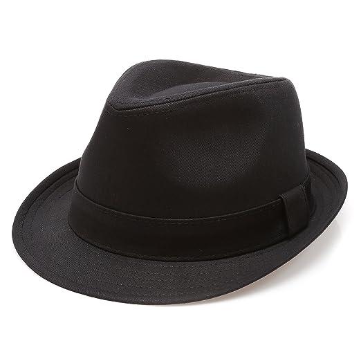 MIRMARU Classic Trilby Short Brim 100% Cotton Twill Fedora Hat with  Band(Black 1cddd08f5b52