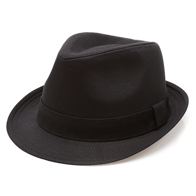 MIRMARU Classic Trilby Short Brim 100% Cotton Twill Fedora Hat with  Band(Black 40ac238004e