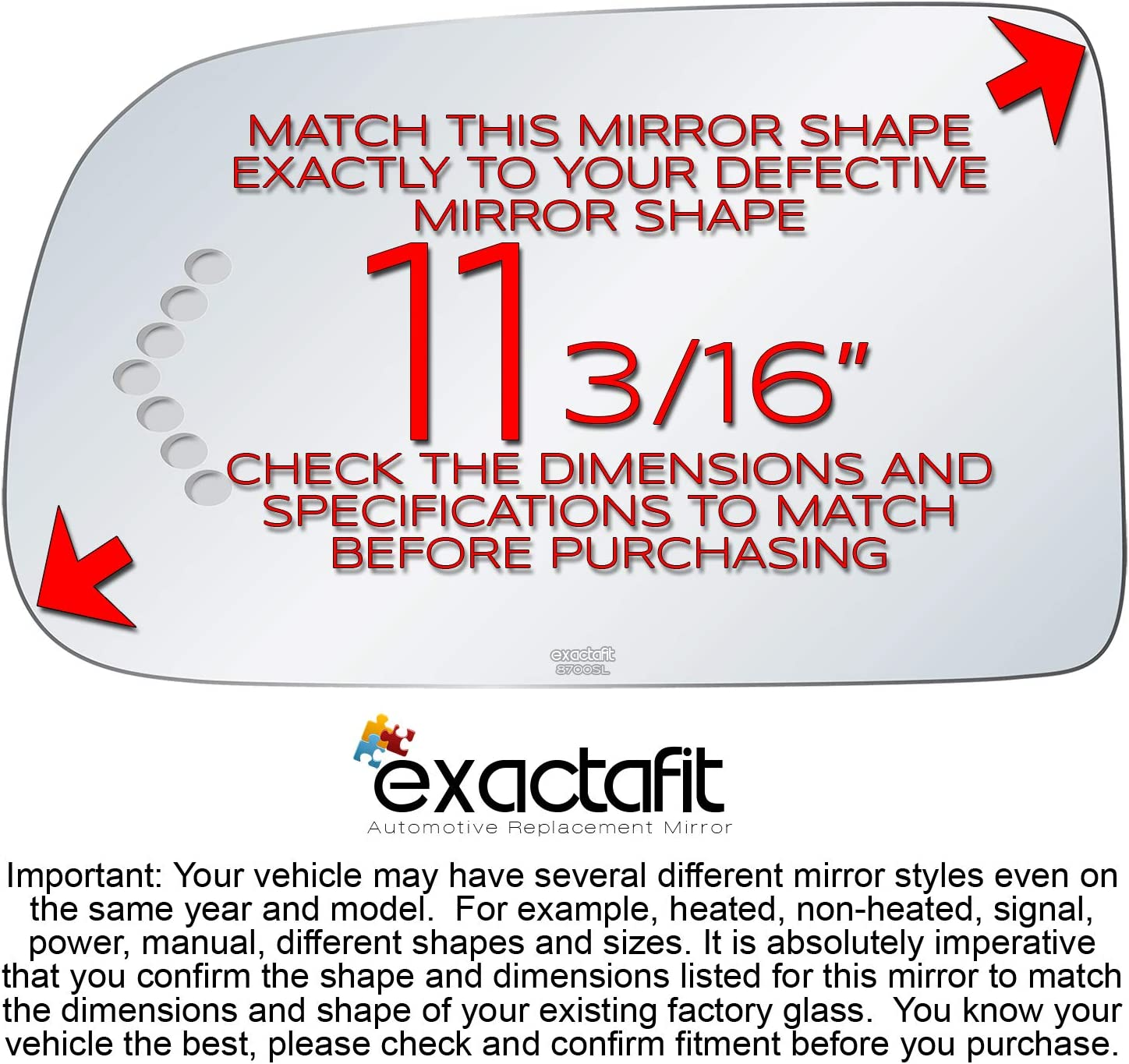 exactafit 8700SL Left Driver Side Signal Mirror Replacement Glass Fits Chevrolet Chevy GMC GM Avalanche Silverado Sierra