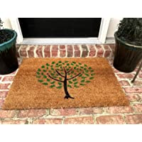 Natural Coir Non Slip Tree Floor Entrance Door Mat Indoor/Outdoor (18W X 30L)