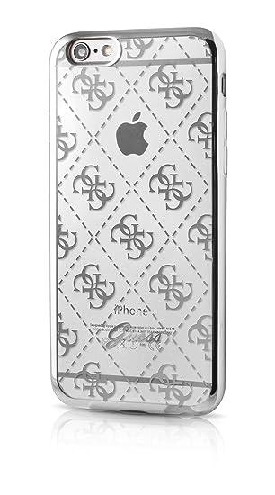 Guess GUHCP6TR4GSI 4G Collection TPU Case für Apple iPhone 66S transparentSilber