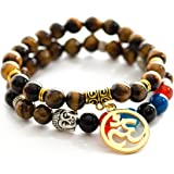 Gems of Peace - Tiger Eye Beaded Om Buddha Yoga Meditation Bracelets w/ Flax Pouch & Lucky Red String