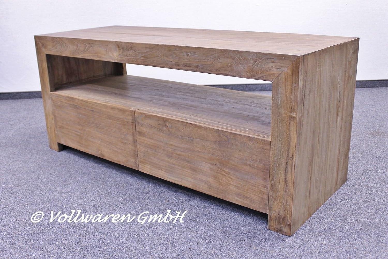 teak tv lowboard cougar ze12 teakholz antik massiv 130 cm vintage tv rack kommode g nstig. Black Bedroom Furniture Sets. Home Design Ideas