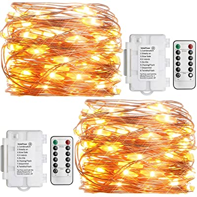 Koopower 2 Pack Outdoor String Lights 16ft 50 LEDs Battery Operated Fairy Lights 8 Mode Waterproof Copper Wire Lights for Bedroom, Garden, Easter, Xmax Decoration Warm White (Remote and Timer) : Garden & Outdoor