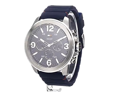 Amazon.com: Tommy Hilfiger Mens 1791096 Stainless steel Watch with Blue Band: Tommy Hilfiger: Watches