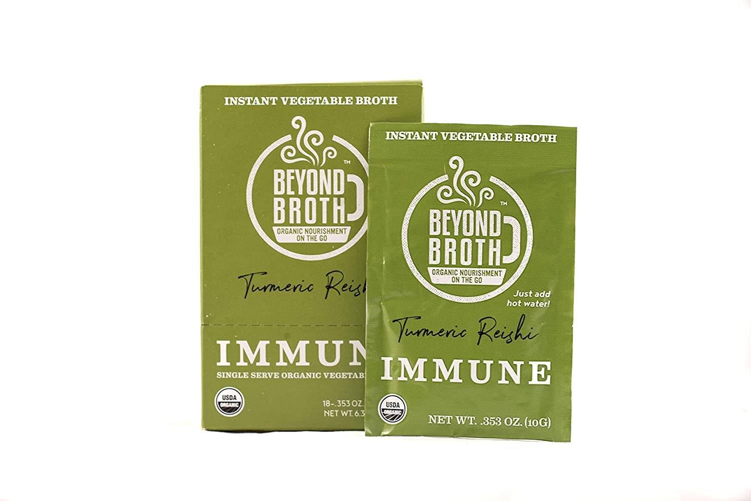BEYOND BROTH Organic Vegan Vegetable Instant Sipping Broth with Turmeric, Reishi, and Cumin for Immune Support | Keto, Gluten Free, Whole 30, and non GMO | (Immunity) (18 Pack)