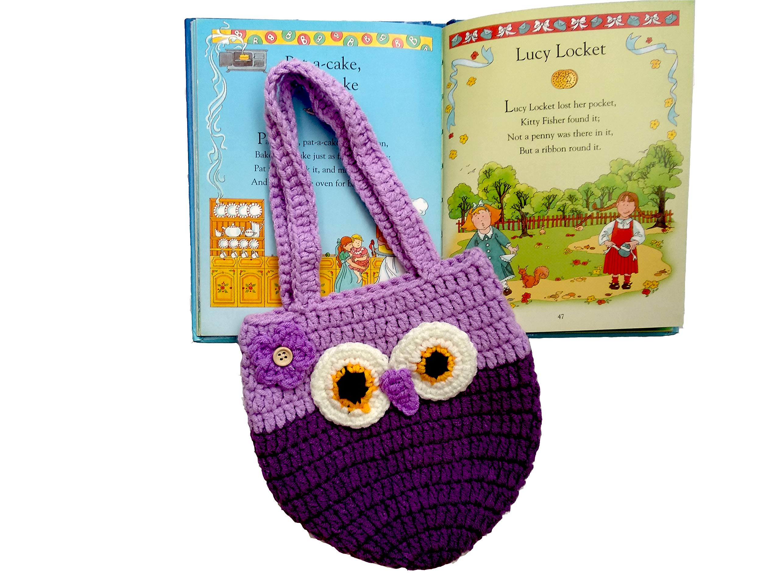 Life Space Cute Happy Owl Mini Purse / Handbag, Nature Soft Cotton/Milk Fiber, Crochet, Handmade - Great Special Present for 2,3,4,5,6 Year Preschool Girls (purple) by Life Space (Image #2)