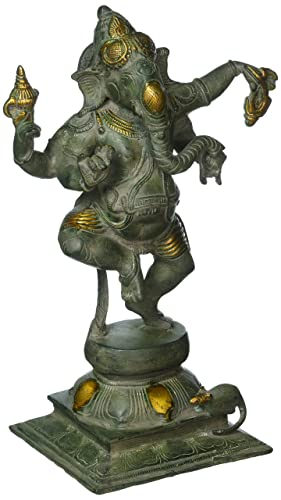 Gorevizon Antique Finished Dancing Ganesh Brass Statue, Black Green