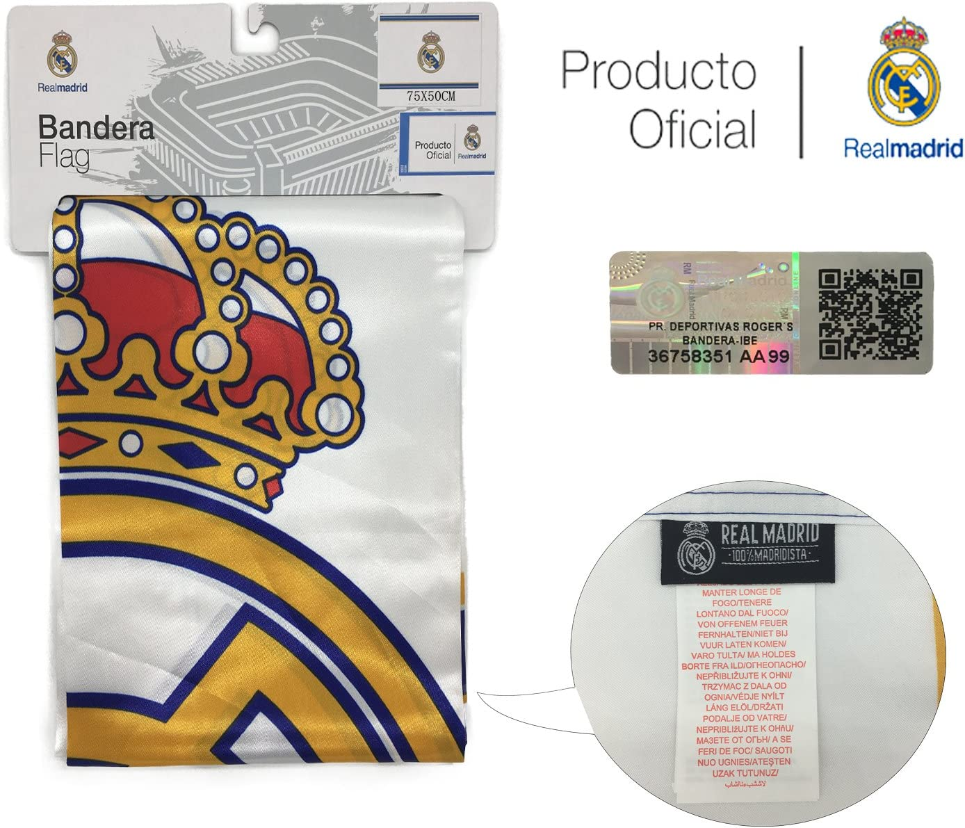 Bandera del Real Madrid (Escudo 50x75 cm): Amazon.es: Deportes y ...