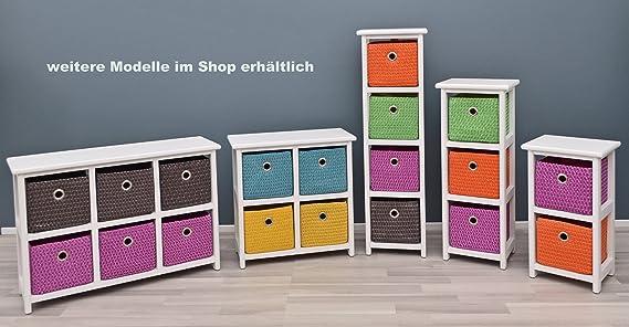 ts-ideen Mesita cajonera, 42 cm de Alto, para baño, con 2 cestos, en Color Blanco, para Habitaciones, oficinas, para el salón, para la habitación de ...