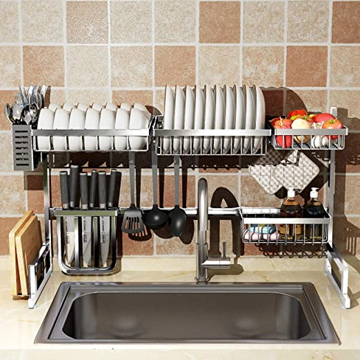 Over Sink 32 Dish Drying Rack 2 Cutlery Holders Drainer Shelf For Kitchen Supplies Storage Counter Organizer Stainless Steel Display Kitchen Space