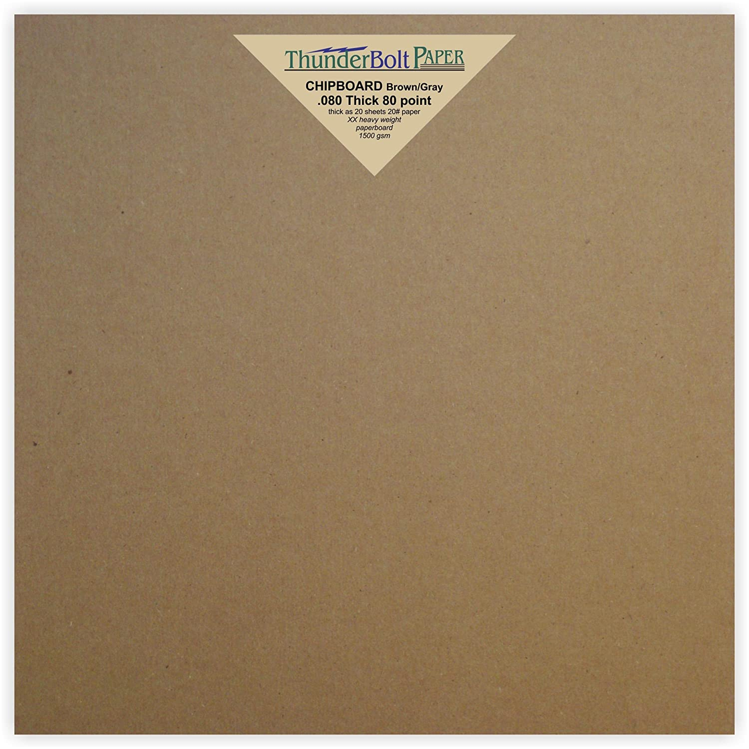 10 Sheets Brown Chipboard 80 Point Extra Thick 8 X 8 Inches Album|Scrapbook Size .080 Caliper XX Heavy Cardboard as Thick as 20 Sheets 20# Paper TBP