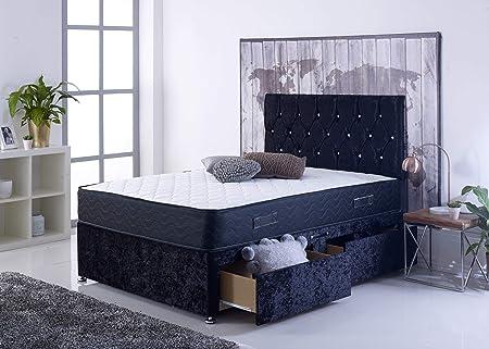 The Comfort Night Sleep Magic Ortho juego de cama de diván completo con base de terciopelo aplastado con colchón ortopédico y cabecero a juego con 2 cajones, Swatches Sample