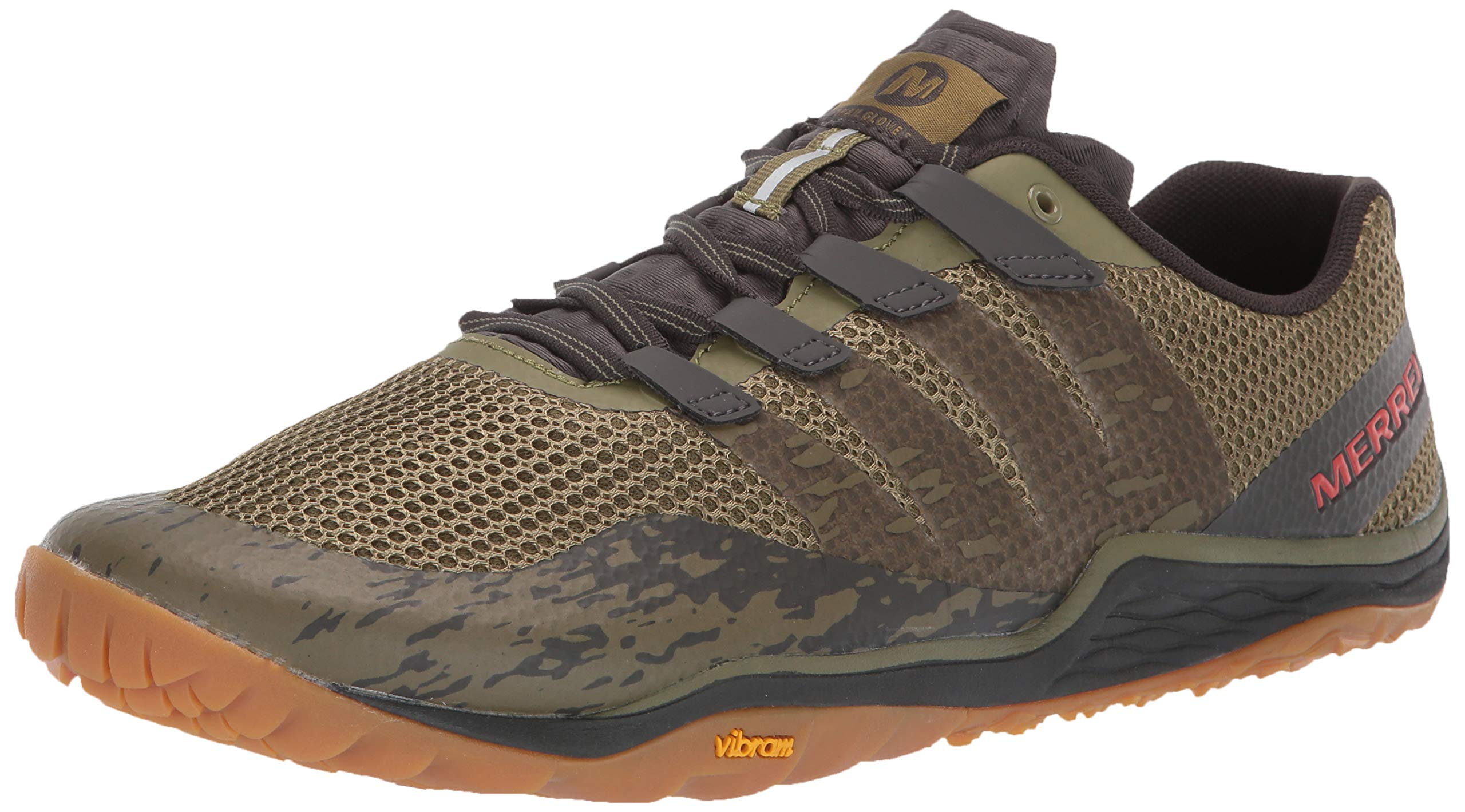 Merrell Men's Trail Glove 5 Sneaker, Olive DRAB/Beluga, 07.0 M US