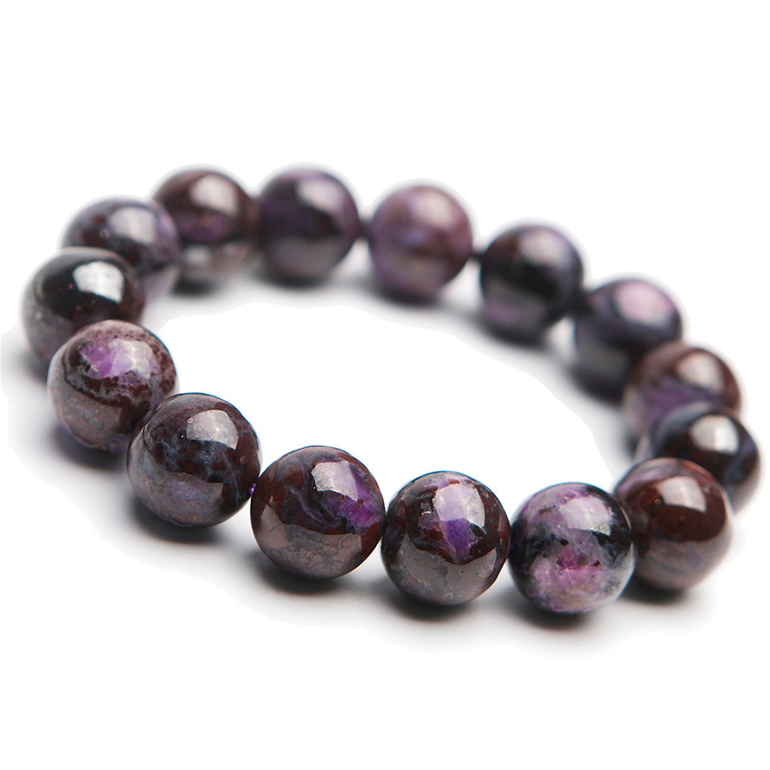 LiZiFang South African Purple Natural Sugilite Gemstone Stretch Round Crystal Bead Bracelet 13mm