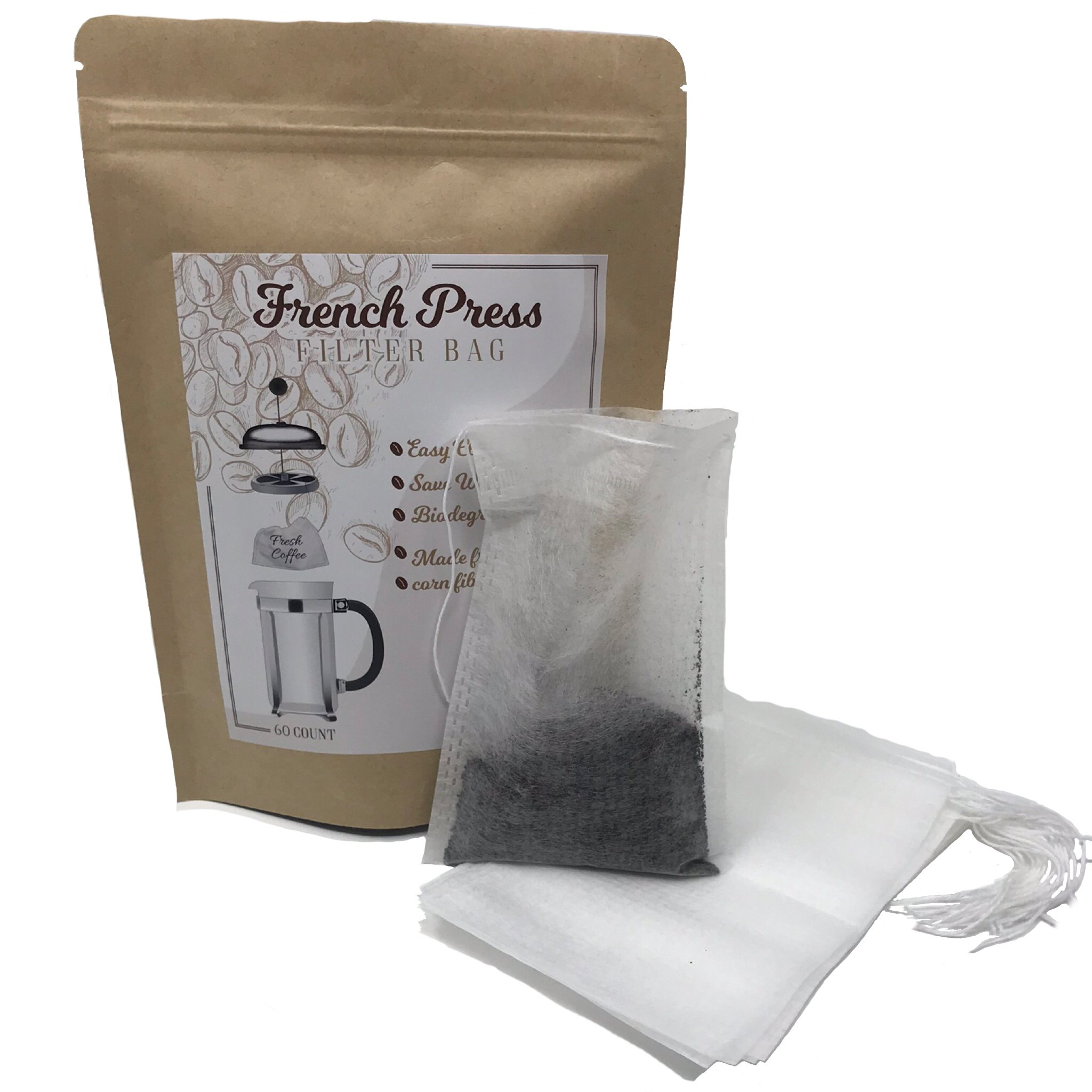 Disposable French Press Coffee Filter Bag - 60 Count - Easy Clean Up Saves Water - Great for Cold Brew and Hot or Cold Tea by Allie Oops
