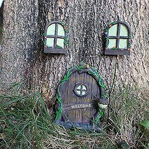 Garden Sculpture Decor, Miniature Fairy Gnome Home Window and Door for Trees, Yard Art Garden Sculpture Decoration, Doors and Windows in The Courtyard Garden Trees, Glow in The Dark Tree face Art