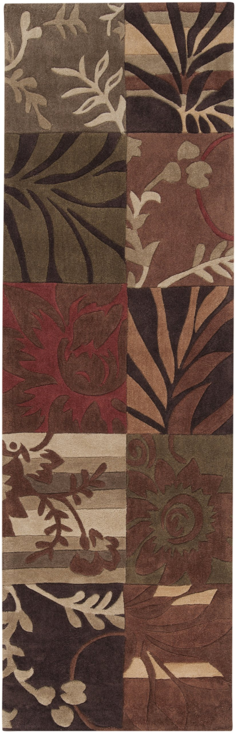 Surya Cosmopolitan COS-8818 Transitional Hand Tufted 100% Polyester Burnt Sienna 2'6'' x 8' Floral Runner