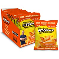 FITCRUNCH Protein Puffs, Keto Cheese Crisps, Designed by Robert Irvine, Keto-Friendly, Protein Snack & Keto Snack, Low Sugar, NON-GMO, Gluten Free, 20g of Protein, 240g (8 Bags) (Cheddar Cheese)