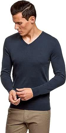 oodji Ultra Hombre Suéter Básico con Cuello Pico