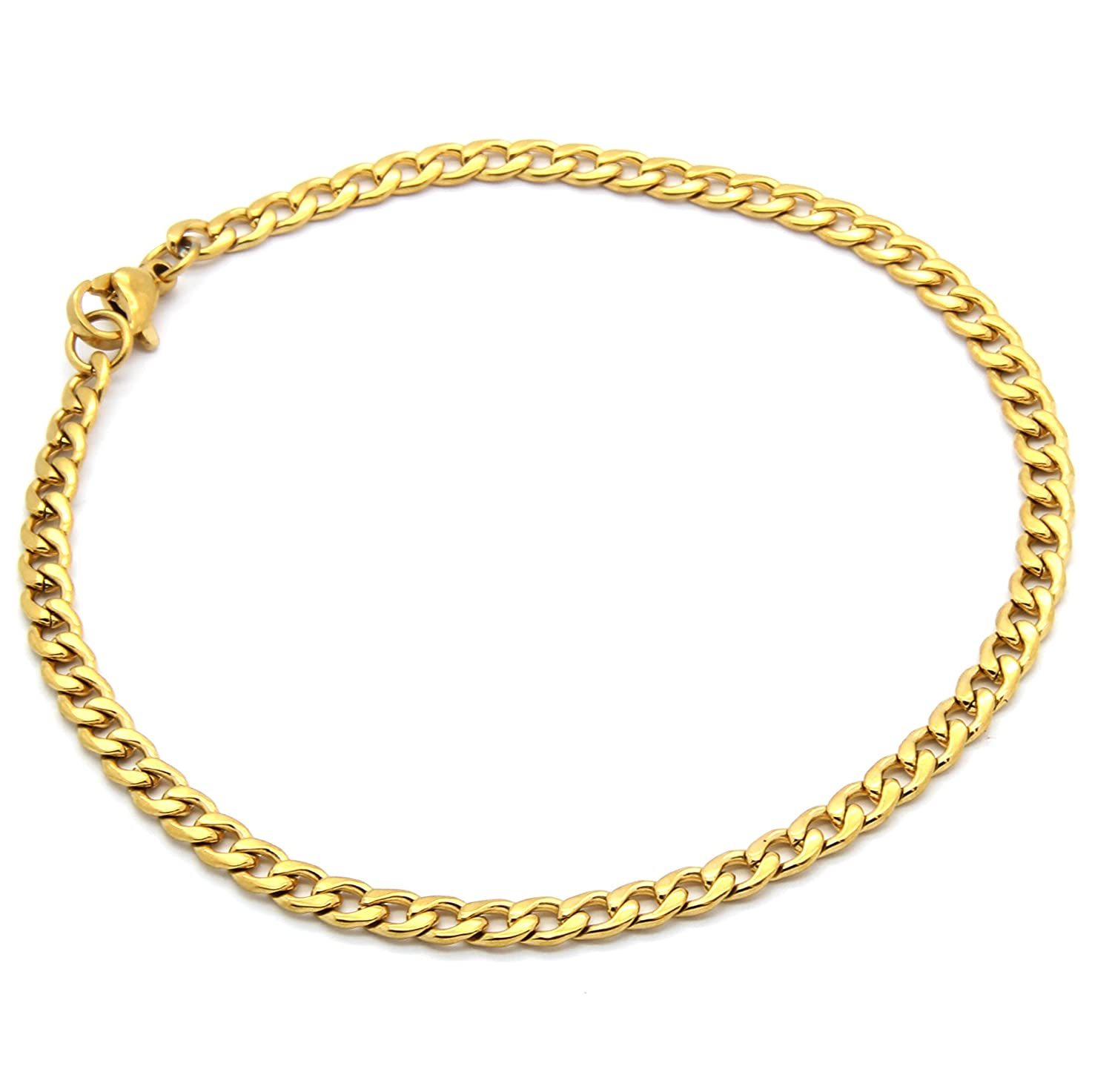 "Mens Gold Tone Stainless Steel 4mm 9"" Inch Cuban Hip Hop Bracelet"