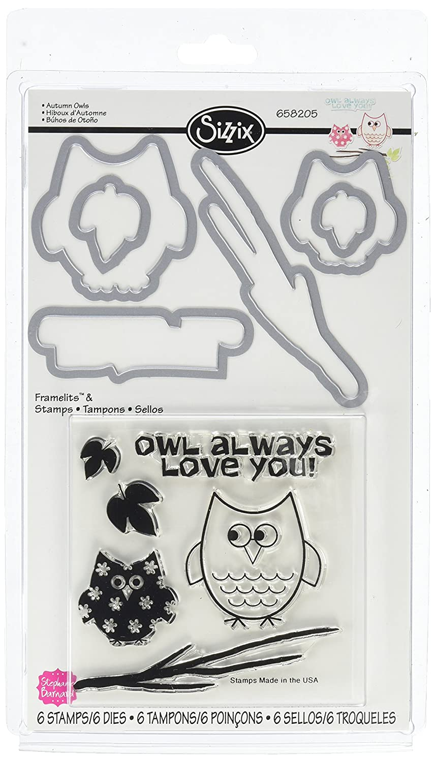 Sizzix Framelits Dies with Clear Stamps, Autumn Owls, 6/Pack Sizzix (SIZZ0) 658205