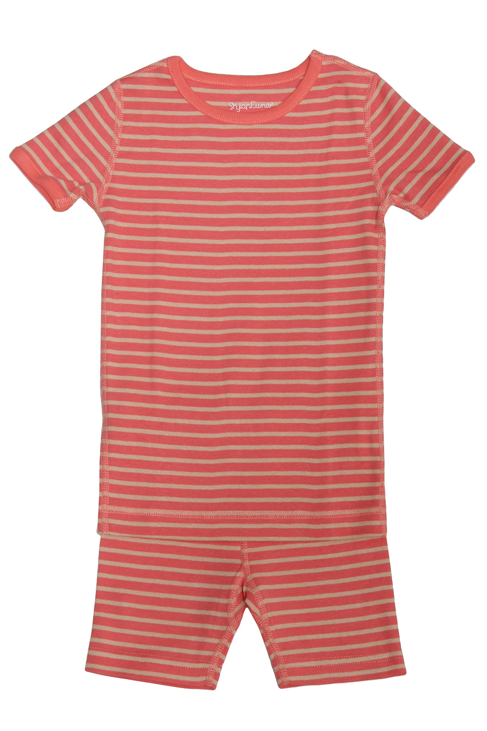 Skylar Luna Girl's Short Sleeve Stripe Pajama Set – 100% Organic Cotton Shirt Shorts – Coral/Oatmeal - Sizes 8