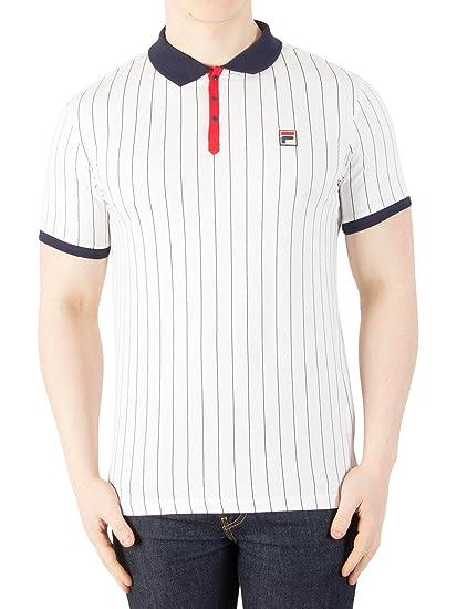 d7f0bb48e9 Fila Vintage White Line Mens BB1 Stripe Tennis Polo Shirt White/Navy M:  Amazon.co.uk: Clothing