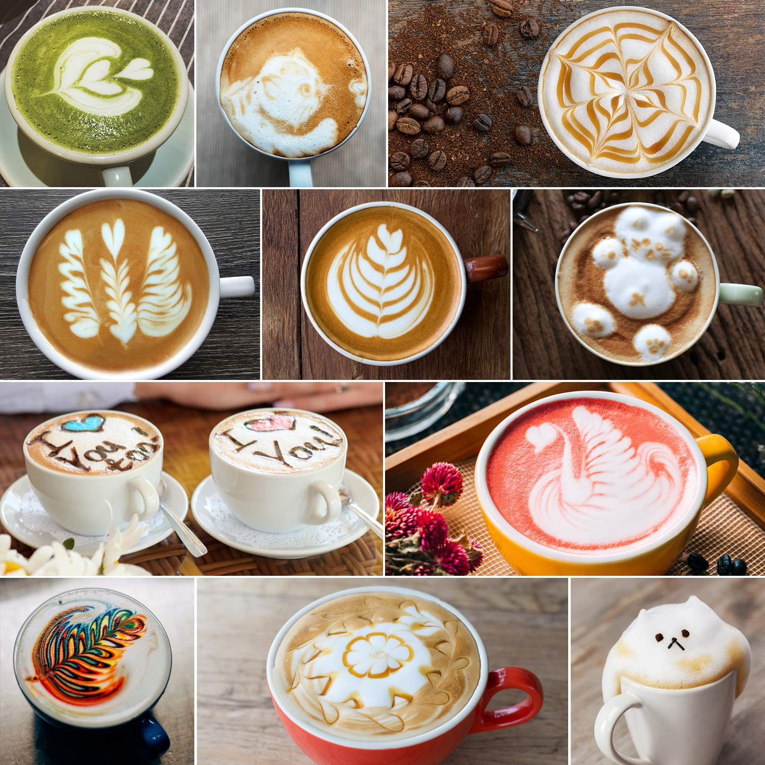 Milk Frothing Pitcher 600ml/350ml/900ml (20oz/12oz/32oz) Steaming Pitchers Stainless Steel Milk/Coffee/Cappuccino/Latte Art Barista Steam Pitchers Milk Jug Cup with Decorating Art Pen, Latte Arts by Adorever (Image #7)