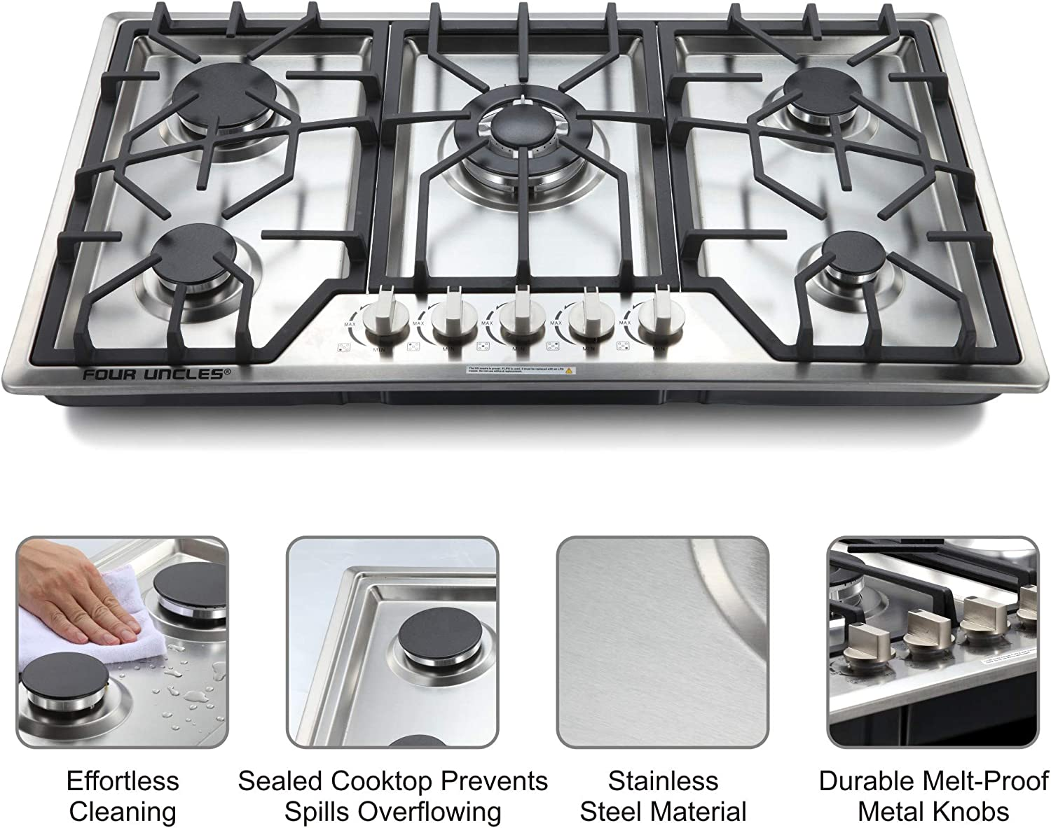 """34/"""" Gas Cooktop 5 Burners Gas Stove Stainless Steel Built-in//Counter Top LPG//NG Thermocouple Protection and Easy to Clean in Silver"""