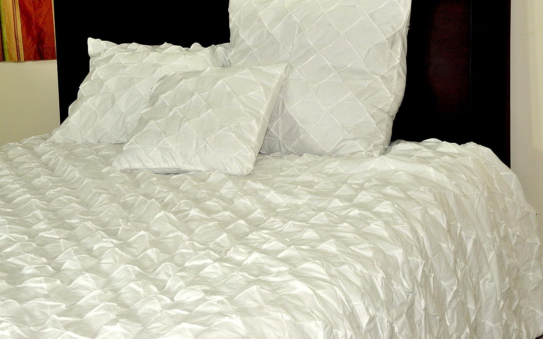95 W X 102 L Queen Size Deveson White Cotton Diamond Puckered Duvet Cover