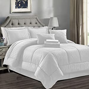 JML Comforter Set, Microfiber Bedding Comforter Sets with Shams - Luxury Solid Color Quilted Embroidered Pattern, Perfect for Any Bed Room or Guest Room (White, King)