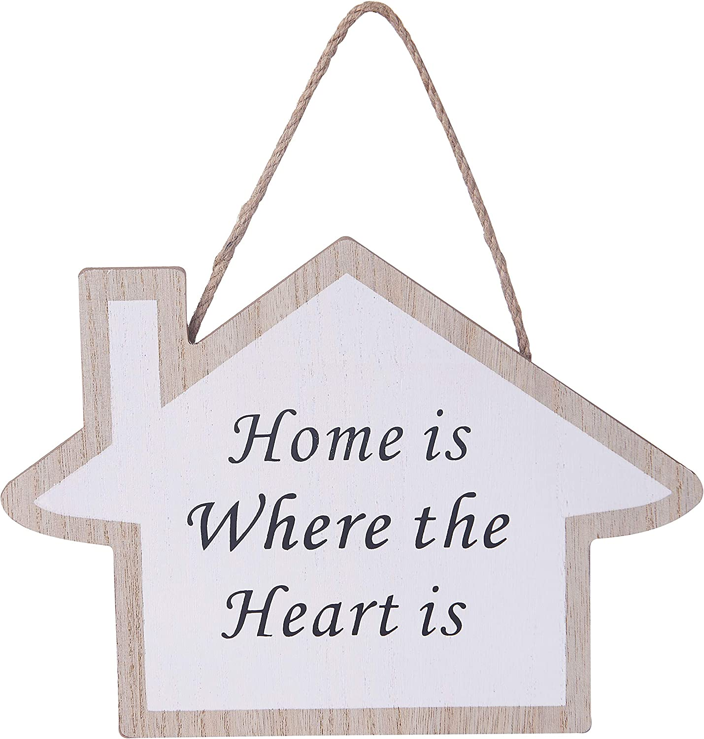 9.6x6.8 inches Jute Rope Hanging Sweet House Welcome Sign Plaque for Home Wall Decor (Home is Where The Heart is)