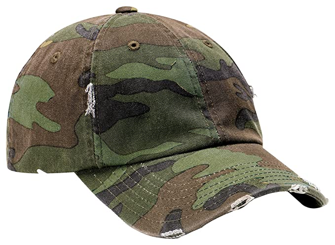d4a8b86fddc15 Amazon.com  District Threads - Distressed Cap. DT600 - Camo  Clothing