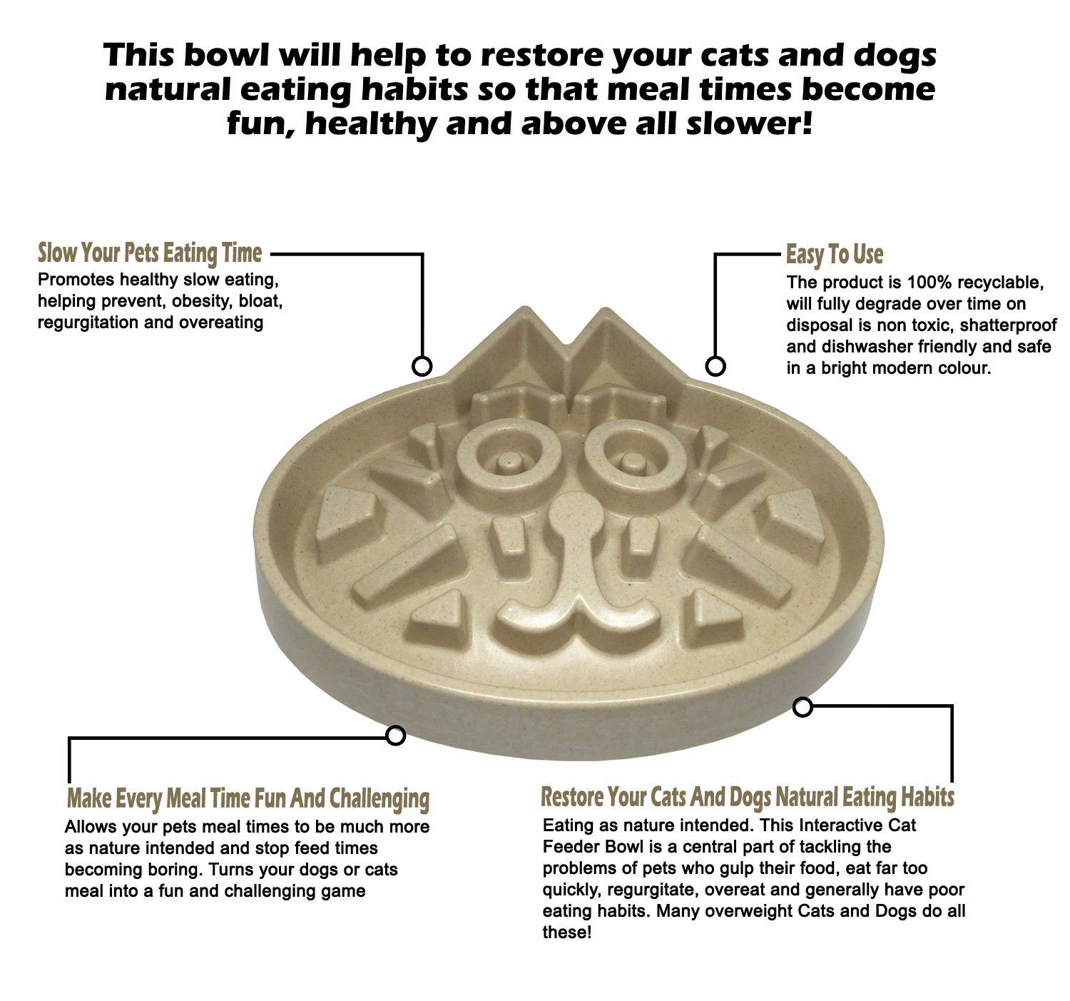Large Slow Feed Cat Bowl | Medium Breed Dog Feed Bowl | Slow Feed Bowl for Pets - Slow Down Eating - Eco-Friendly Durable Non Toxic Bamboo Fibre- Designed by Veterinarians - Professional Design by Simply Pets Online