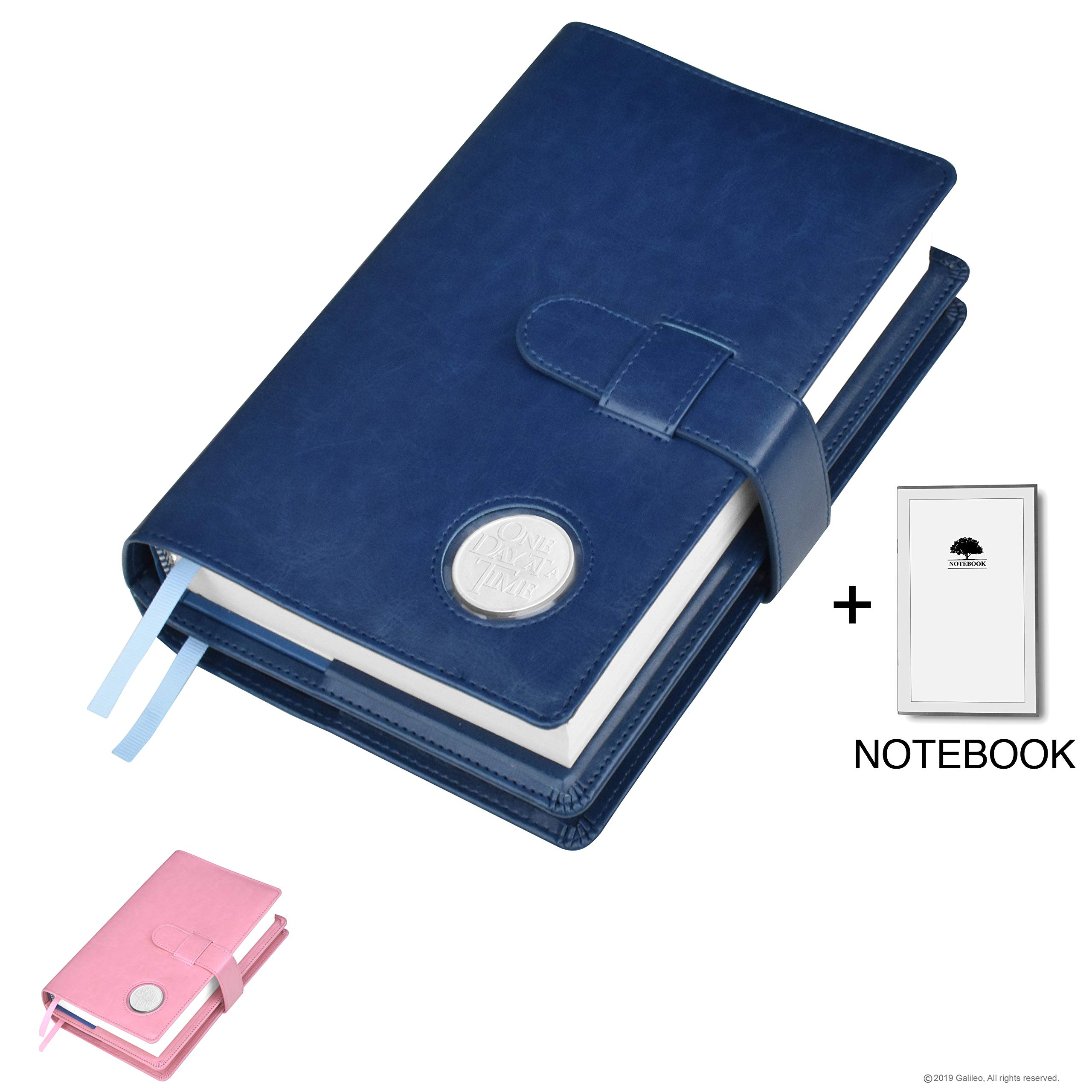 Double AA Big Book Cover & 12 Steps & 12 Traditions | Medallion Holder | by Galileo | Perfect Gift | Alcoholics Anonymous | + Extra Notebook (Plain/Coin Pocket/Navy Blue) by GALILEO