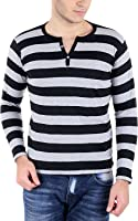 Bigidea Grey-Black Striped Henley T-Shirt