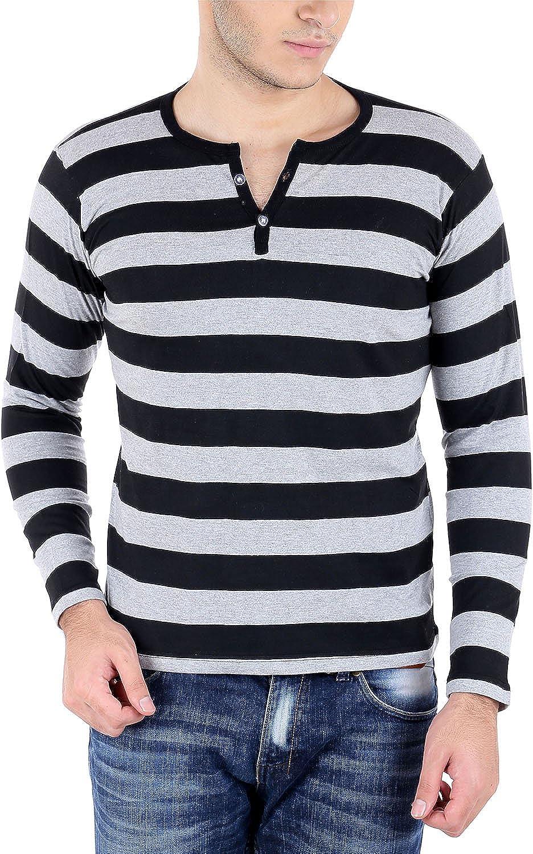 Black t shirt amazon - Bigidea Grey Black Striped Henley T Shirt Amazon In Clothing Accessories