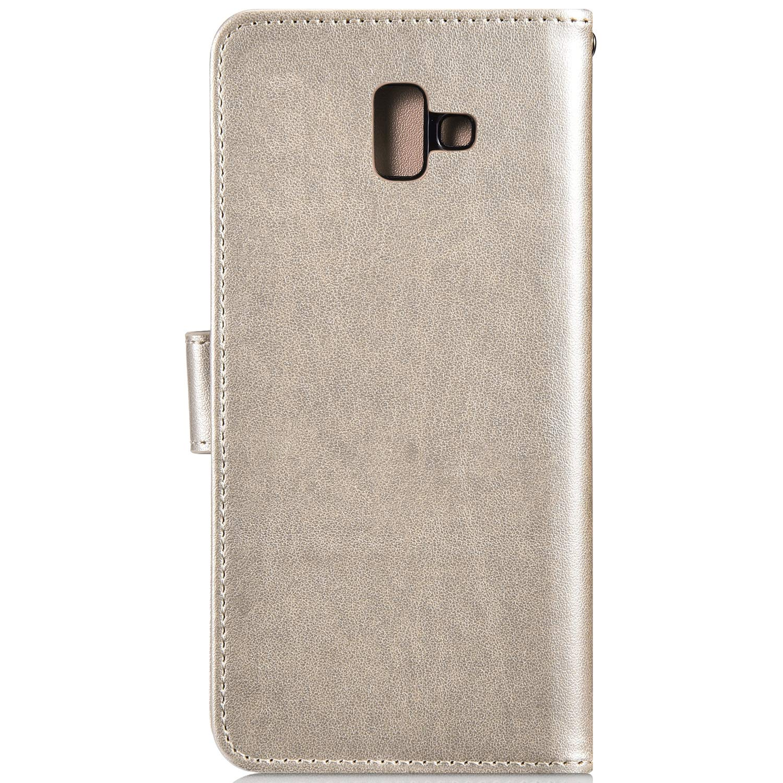 Qjuegad Compatibile con Samsung Galaxy J6 Plus 2018 Custodia Flip Libro Caso in Pelle con Chiusura Magnetica Portafoglio Custodia Gufo Goffratura Antiurto Protettiva Case con Funzione di Supporto Oro