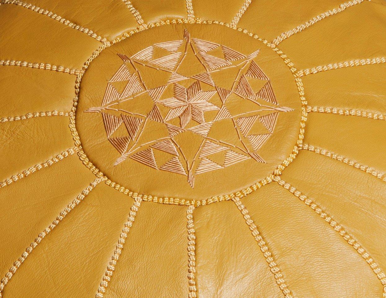 Moroccan Buzz Cubierta de cuero superior otomana puf Mostaza amarilla