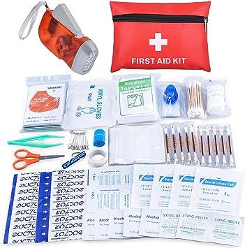 Oziral Botiquín Primeros Auxilios, Mini Kit de Primeros Auxilios a Prueba de Agua, pequeño. Incluye Manta de Aluminio, Tijeras, Suministros médicos para Viajes, hogar, Camping y Aire Libre (112pcs): Amazon.es: Deportes y