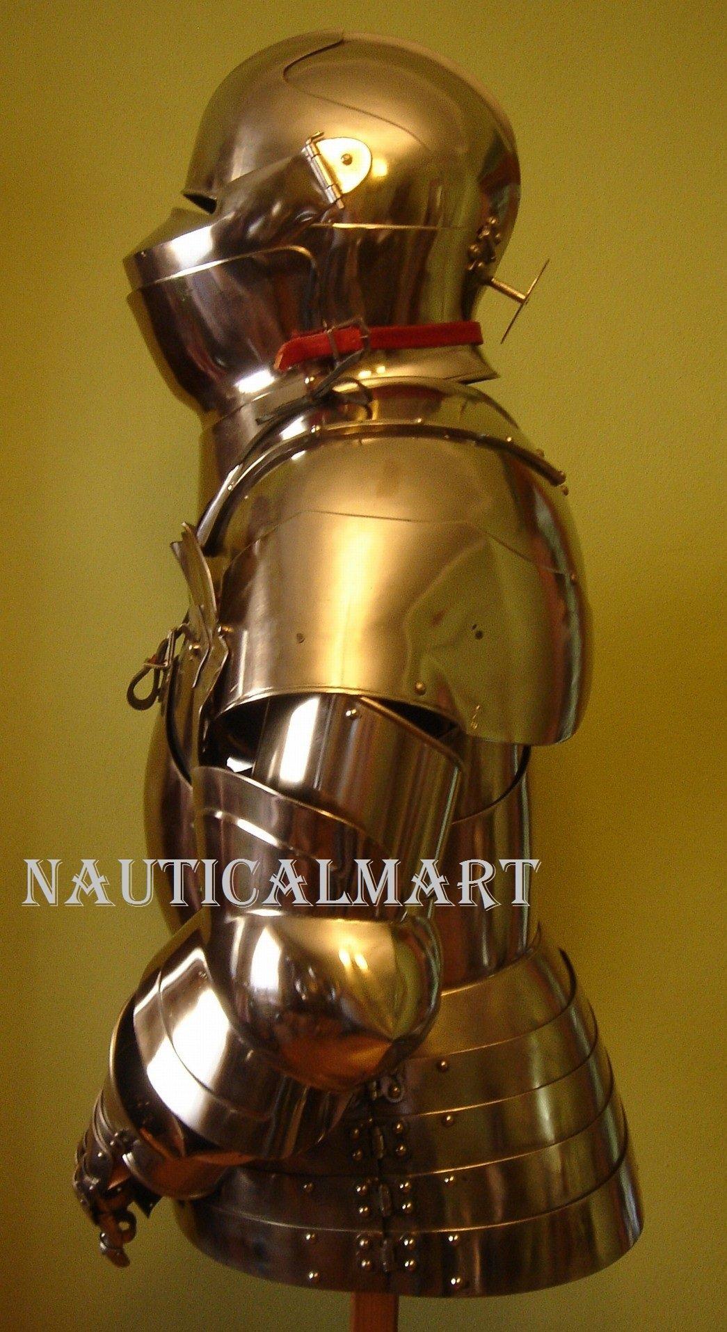 Armor Costume Steel Medieval Suit of Armor Breastplate with Helmet by NAUTICALMART (Image #2)