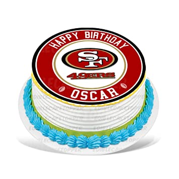 San Francisco 49ers Edible Cake Topper Personalized Birthday 8quot Round Circle Decoration Party Sugar