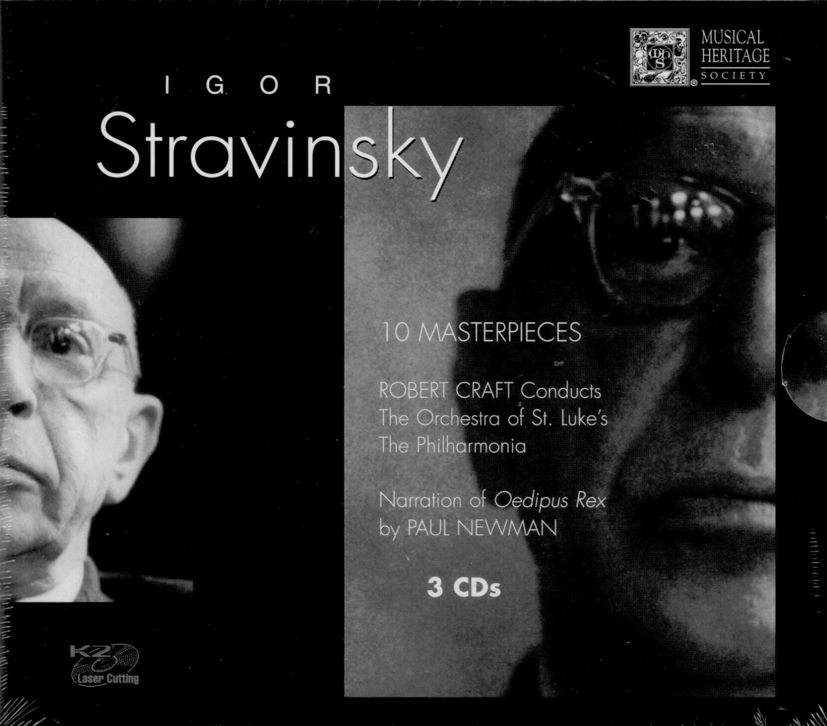 Stravinsky: 10 Masterpieces: Symphony in 3 Mvts; Fanfare for a New Theatre; Fanfare for 3 Trpts; Oedipus Rex; Apollo Pas de Deux; Requiem Canticles; Symphony of Psalms; Rite of Spring; Petruska; Solovei--The Nightingale by Musical Heritage Society MHS