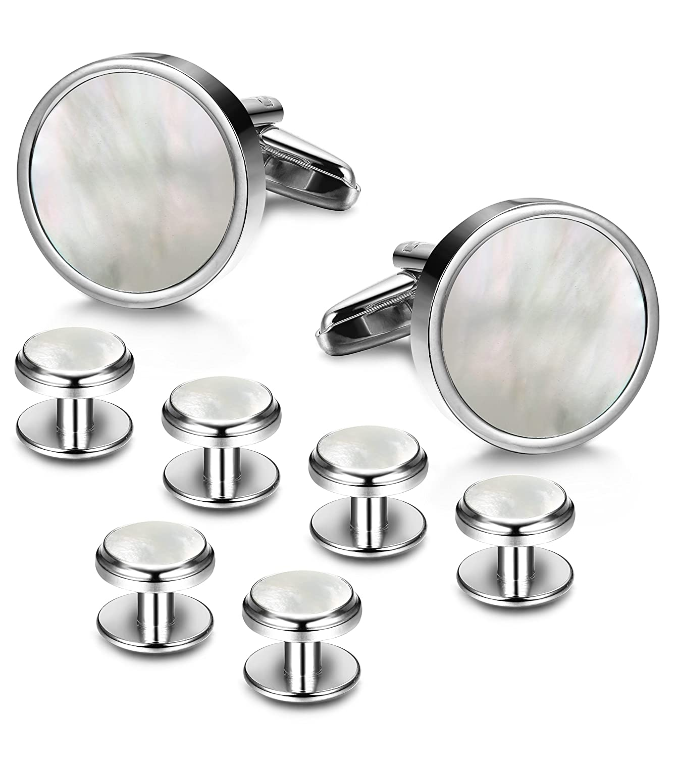 LOYALLOOK 8pcs Mens Silver Tone Mother of Pearl Shell Round Cufflinks and Shirt Stud Set Tuxedo Shirts Business Wedding TI082901