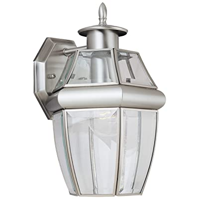 Sea Gull Lighting 8038-965 Lancaster One-Light Outdoor Wall Lantern Outside Lighting, Antique Brushed Nickel Finish: Home Improvement